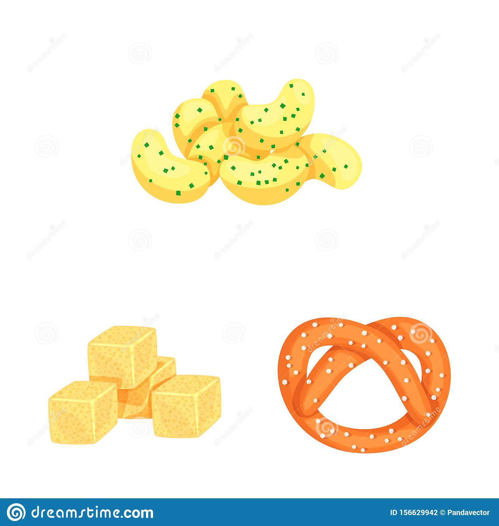 Vector design of food and crunchy icon. Set of food and flavor stock symbol for web.