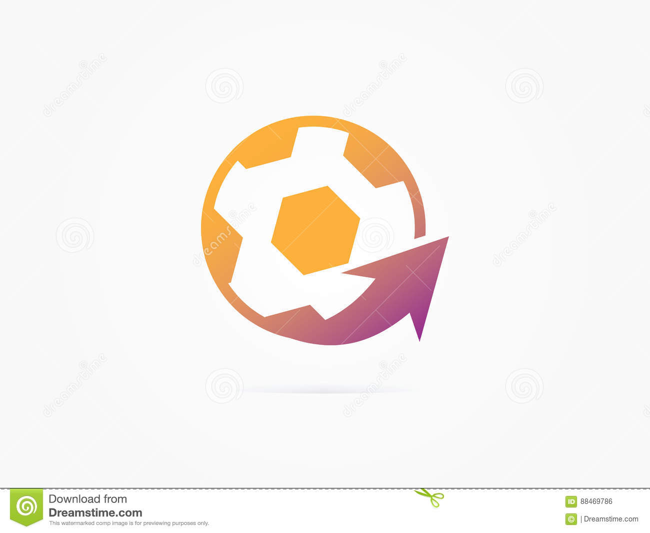 Vector Illustration Football Ball With Arrow Design And Sports Web