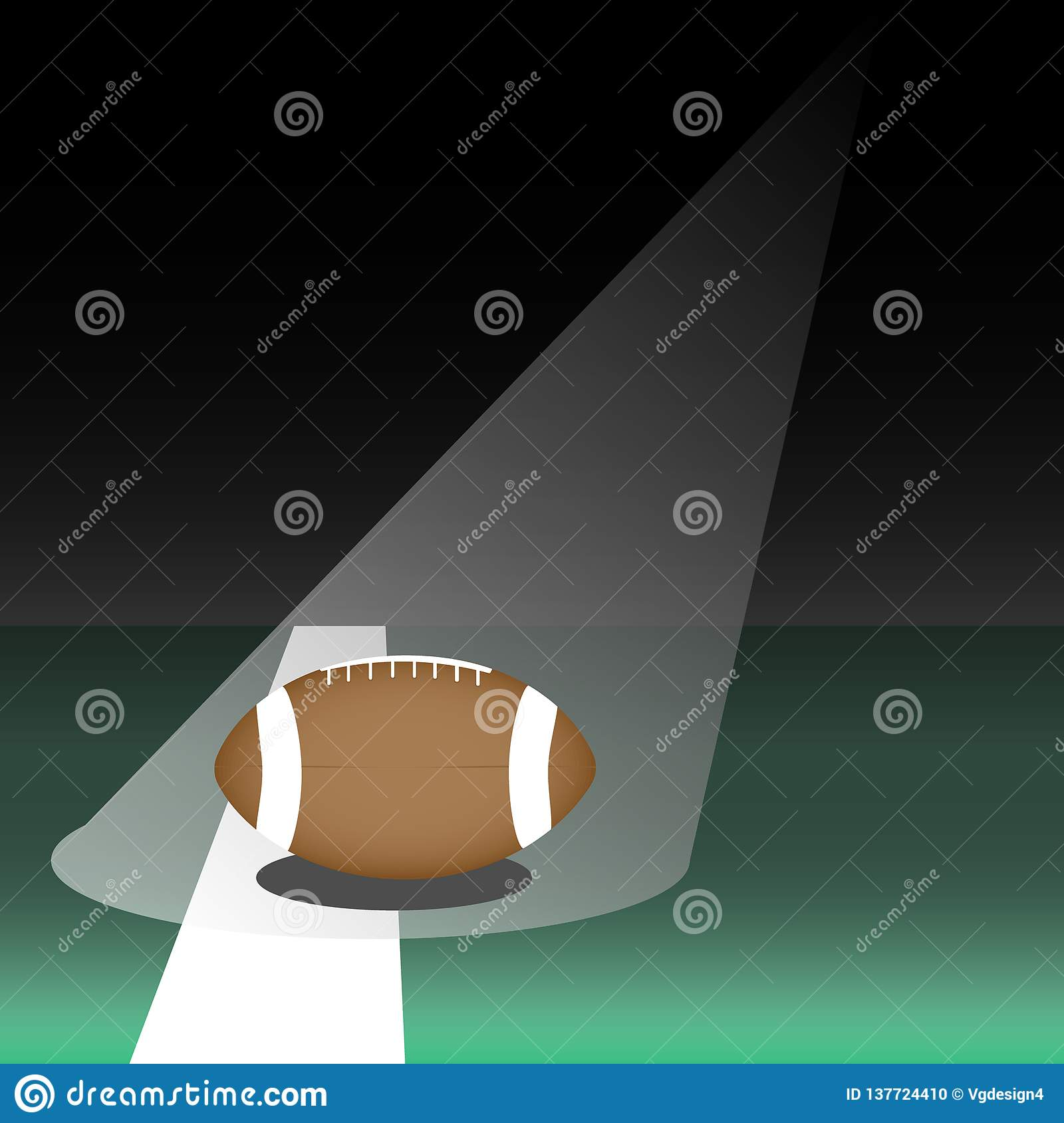 Football ball on green football field highlighted front view