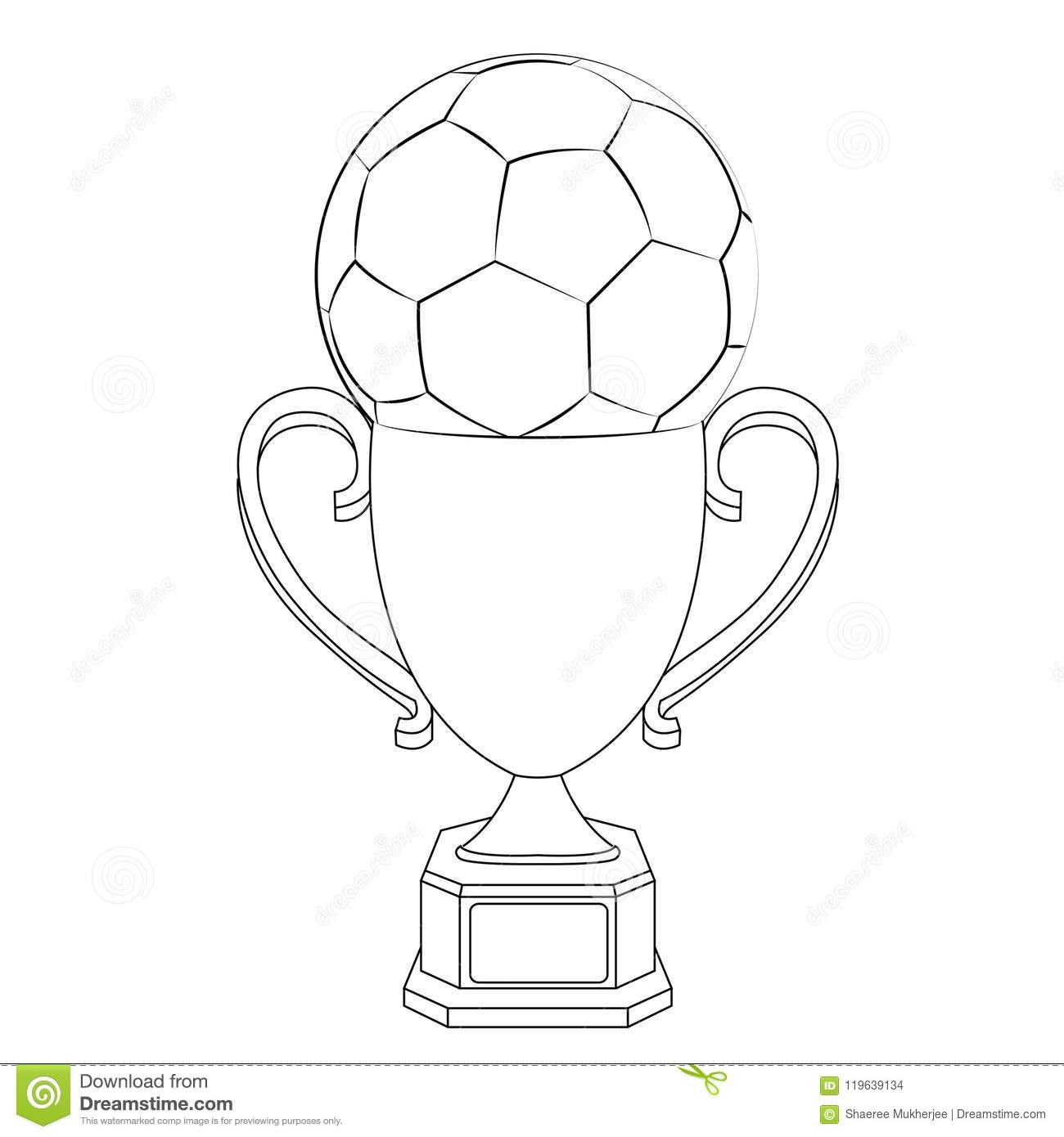 Vector Illustration Football With Trophy Coloring Page Stock