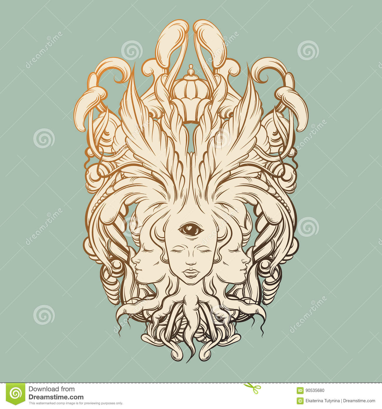 Vector illustration of fortune teller with three heads, eyes, floral baroque frame.