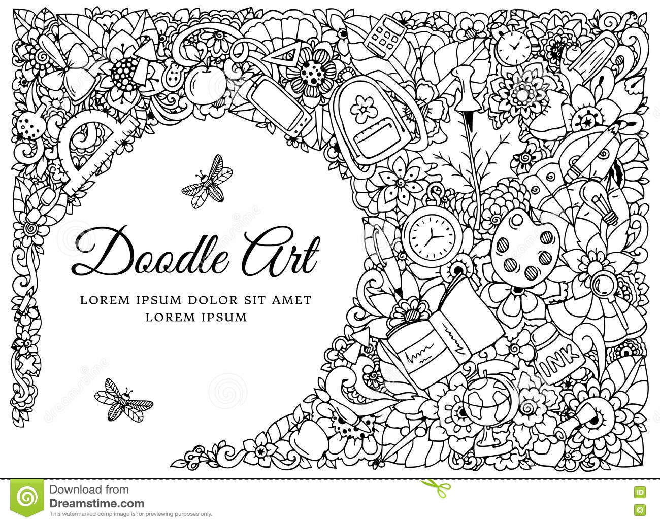 Coloring book school - Vector Illustration Frame With School Supplies Back To Doodle Drawing Meditative Exercise