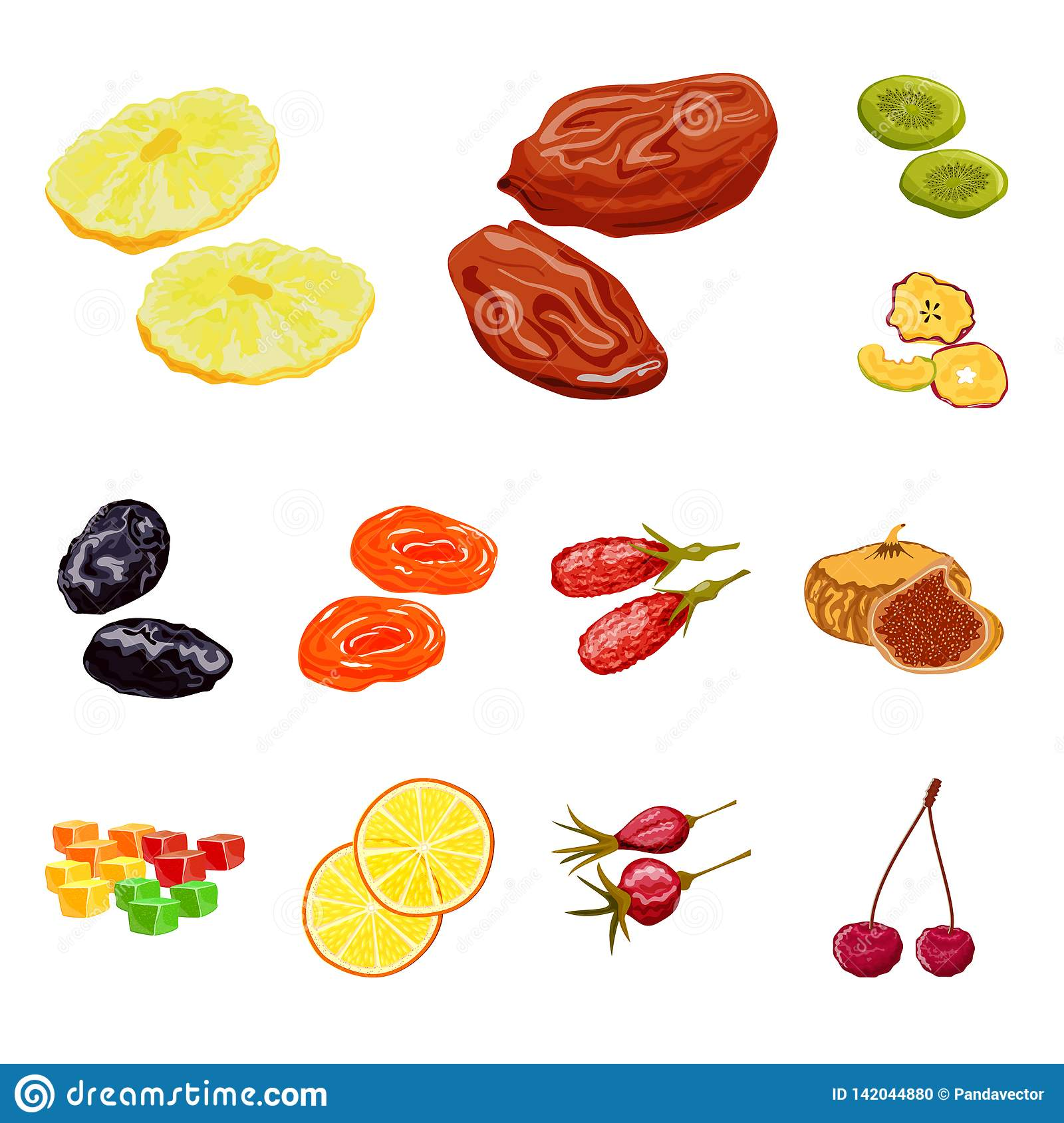 Vector design of fruit and dried logo. Set of fruit and food vector icon for stock.