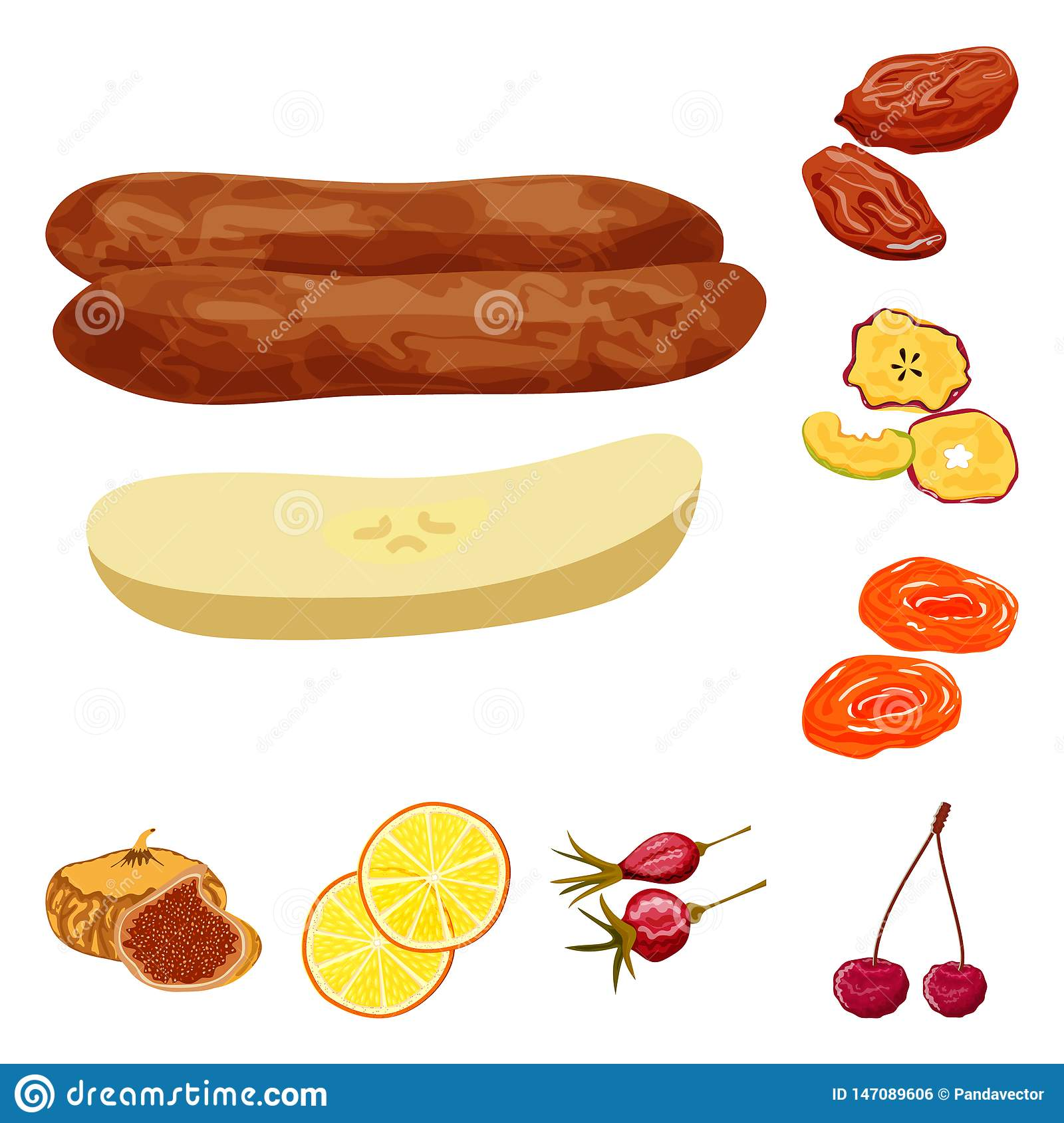 Vector illustration of fruit and dried icon. Collection of fruit and food vector icon for stock.