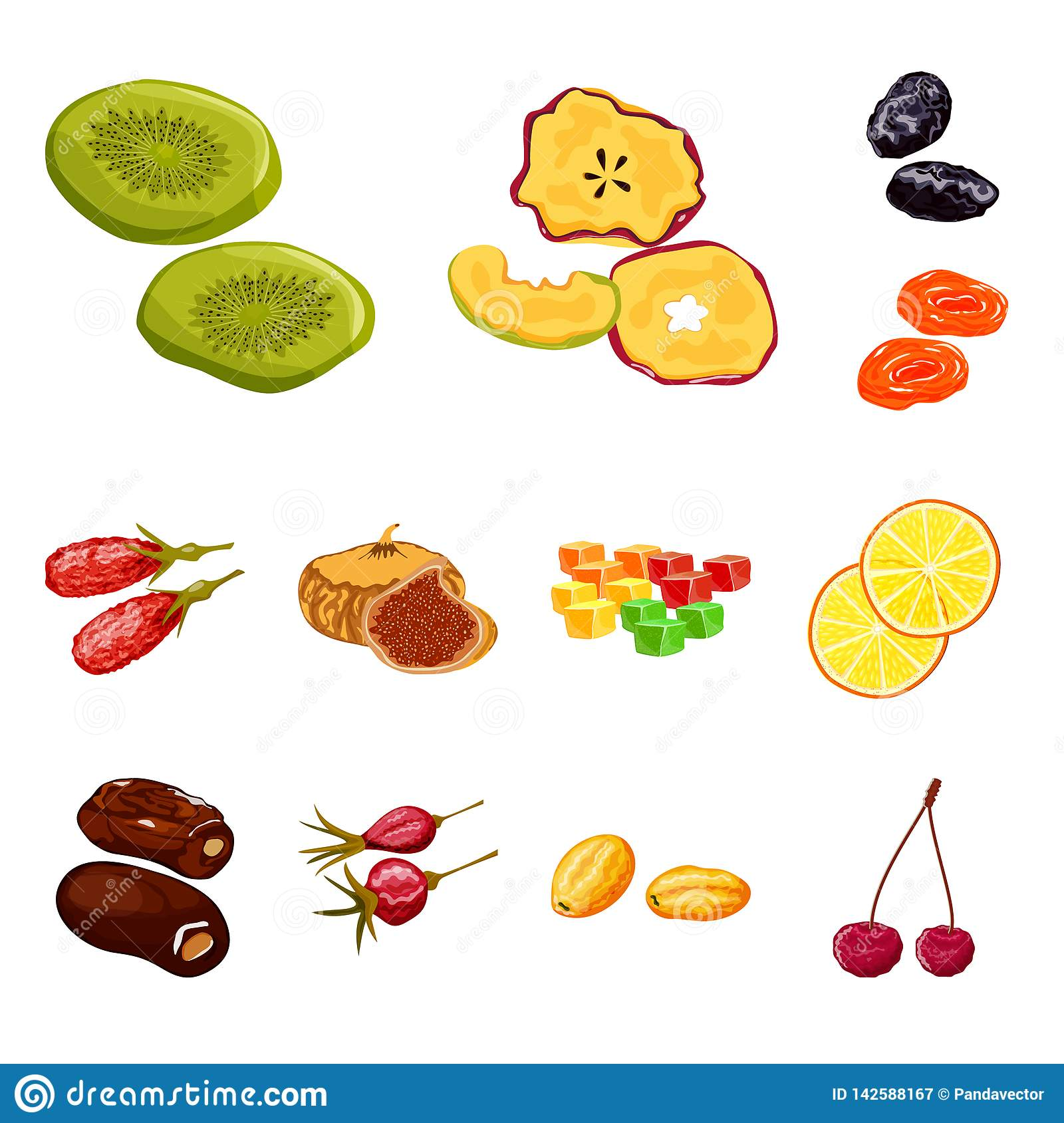Vector design of fruit and dried symbol. Set of fruit and food vector icon for stock.