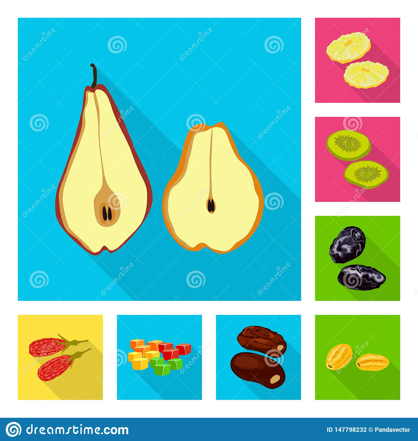 Vector illustration of fruit and dried symbol. Collection of fruit and food stock symbol for web.