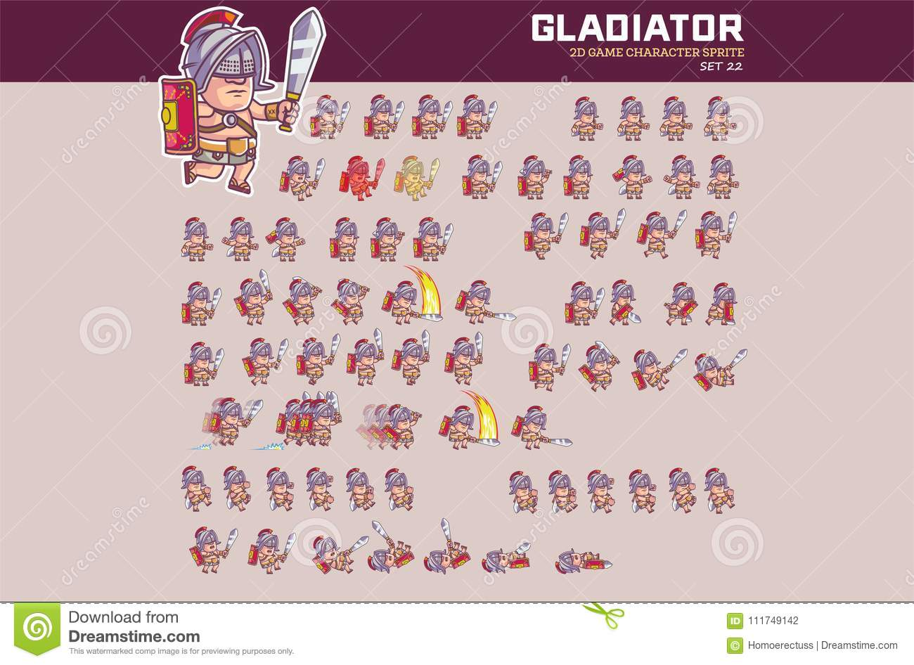 Gladiator Game Character Animation Sprite Stock Vector ...
