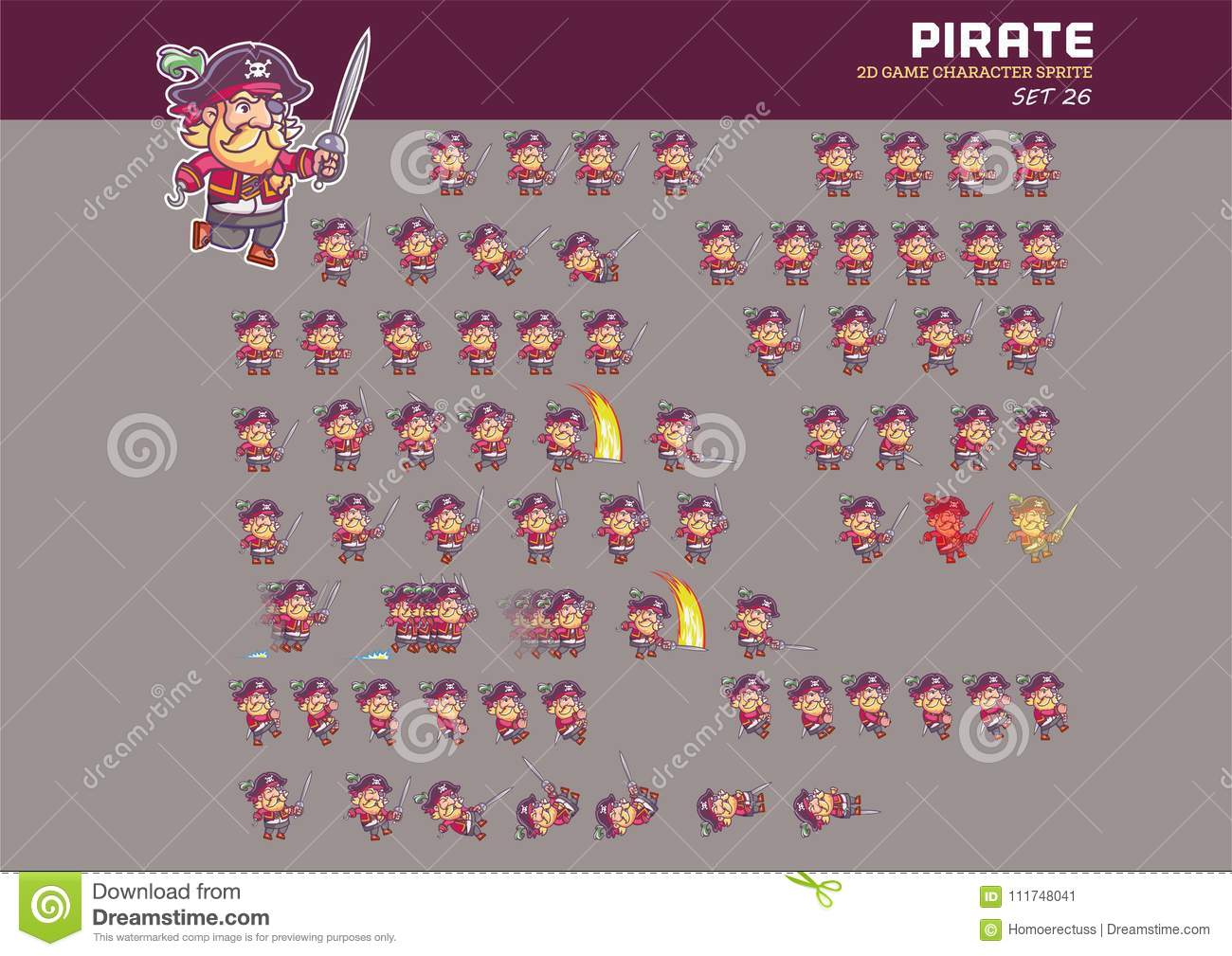 Pirate Cartoon Game Character Animation Sprite Stock Vector