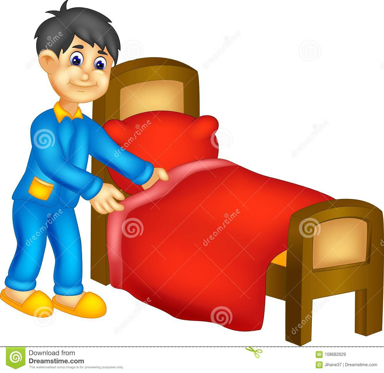 Funny Boy Cartoon Clean Bedroom With Smile Stock Illustration Illustration Of Lifestyle Hand