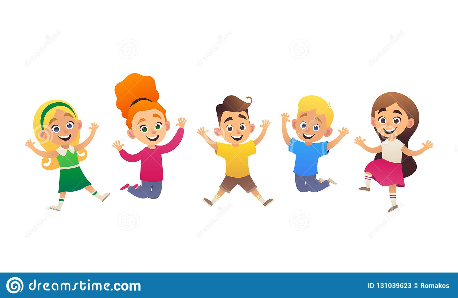Vector Illustration Of Funny Cartoon Children Jumping And Having Fun Stock Vector Illustration Of Love Background 131039623