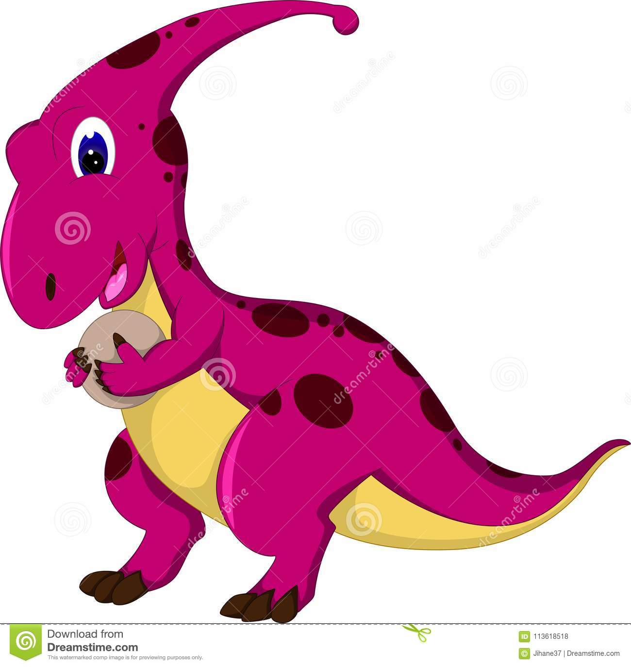funny t rex cartoon standing bring egg with smiling stock