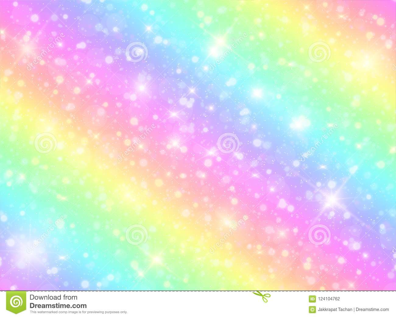 vector illustration galaxy fantasy background pastel color unicorn sky rainbow clouds bokeh cute bright candy 124104762