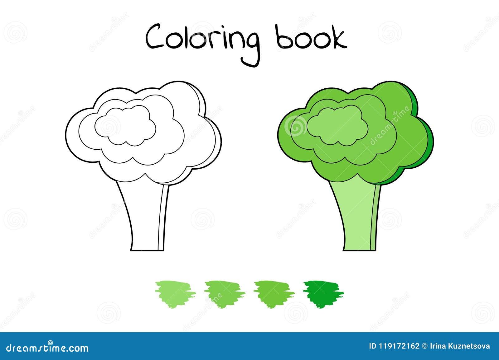 Illustration. Game For Children. Vegetable. Coloring Page Broccoli ...