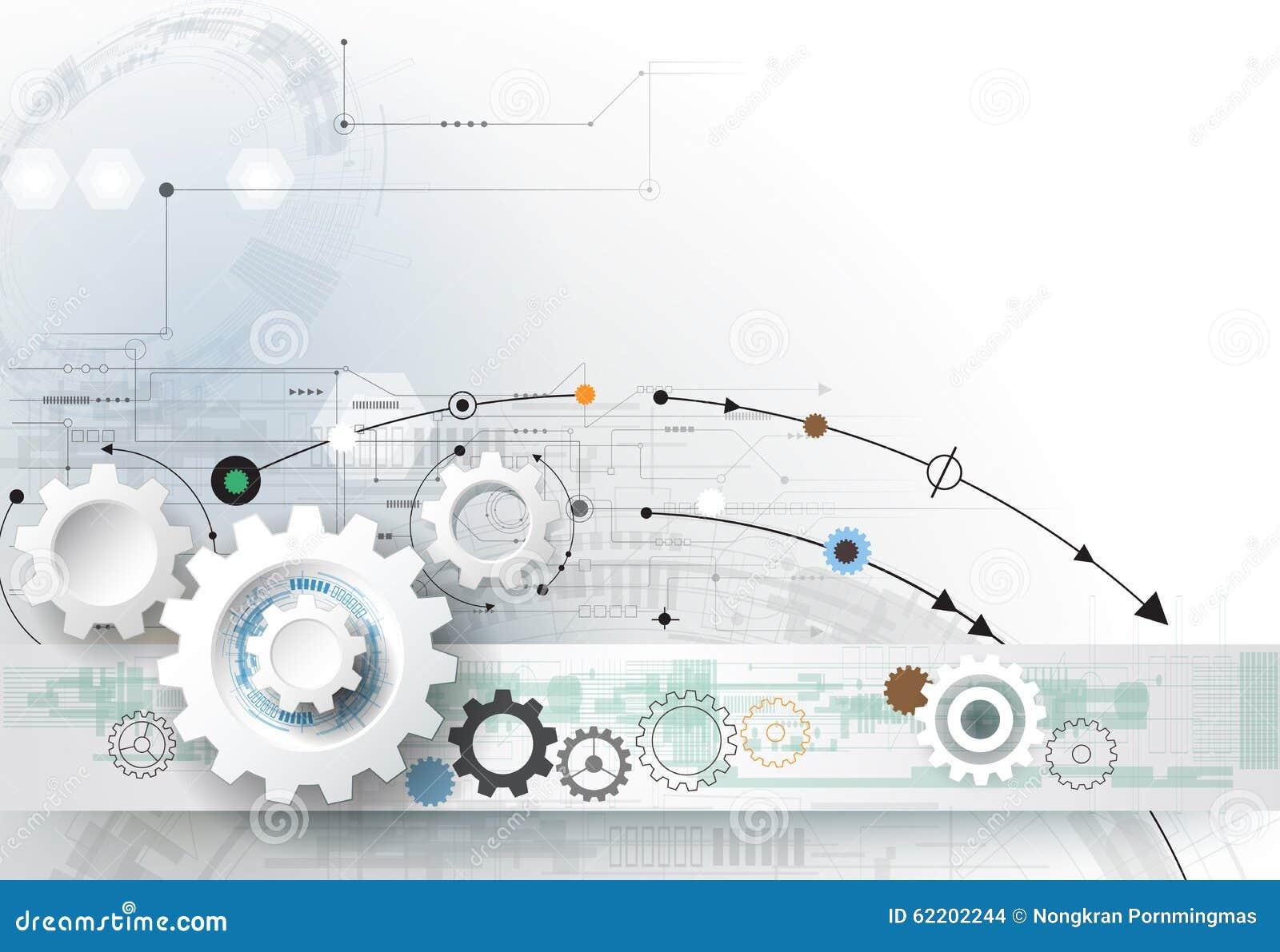Vector illustration gear wheel, hexagons and circuit board, Hi-tech digital technology and engineering