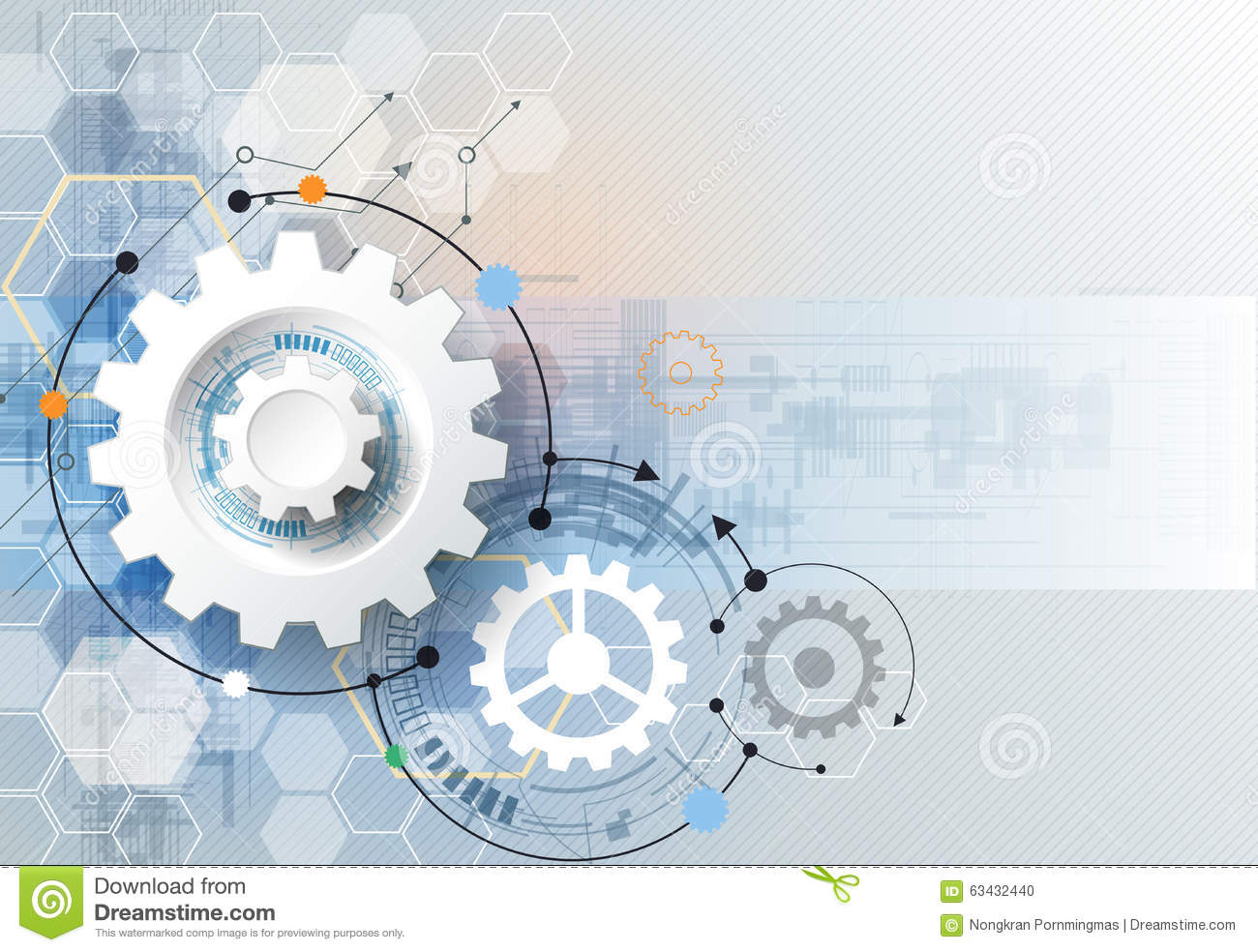 Download Vector Illustration Gear Wheel, Hexagons And Circuit Board, Hi-tech Digital Technology And Engineering Stock Vector - Illustration of concept, business: 63432440
