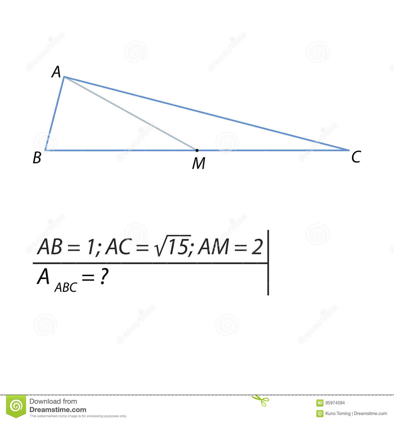 Vector illustration of a geometrical problem for finding the area of a  triangle-01