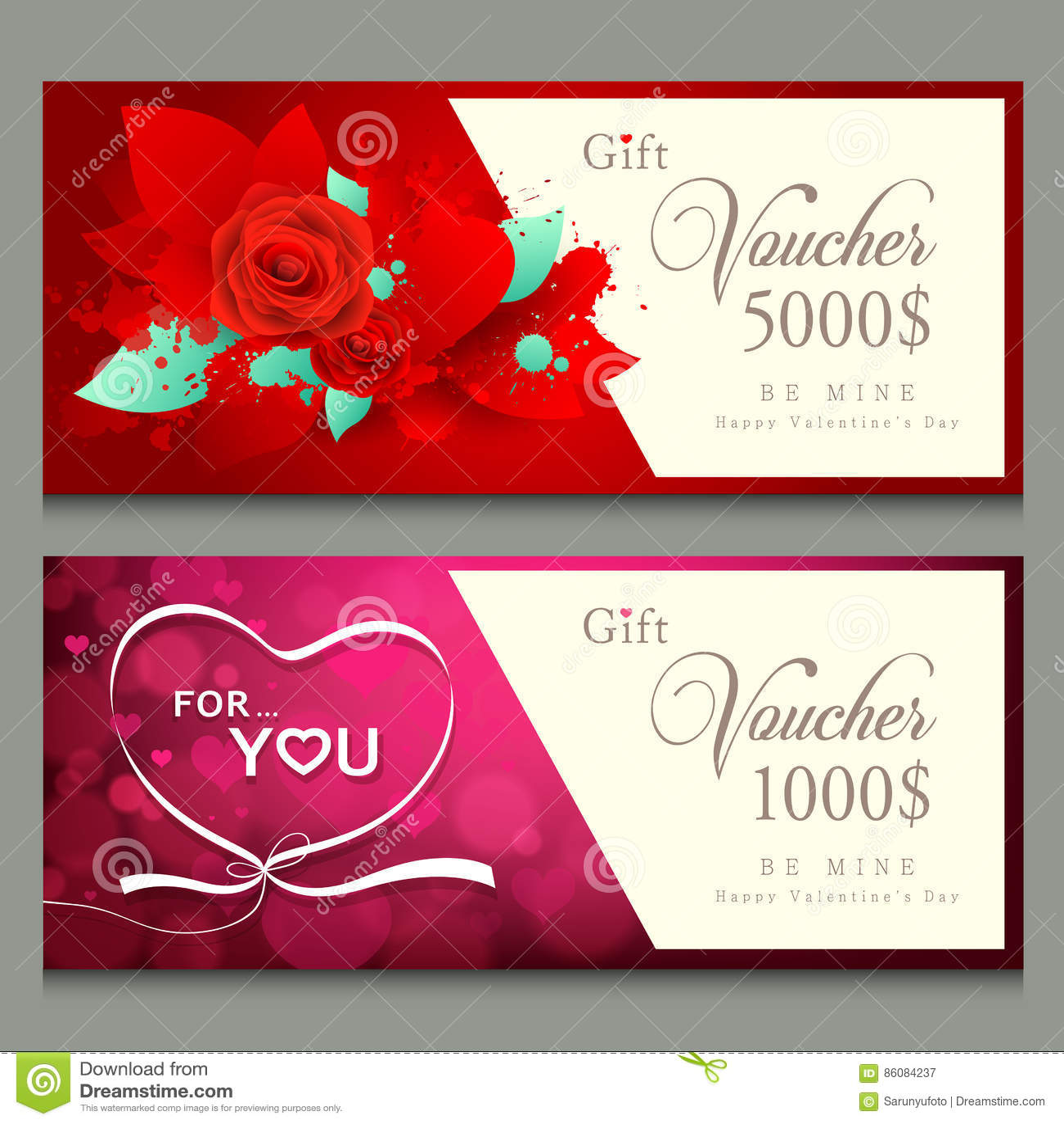 Vector Illustration Gift Voucher Happy Valentine Day Stock Vector