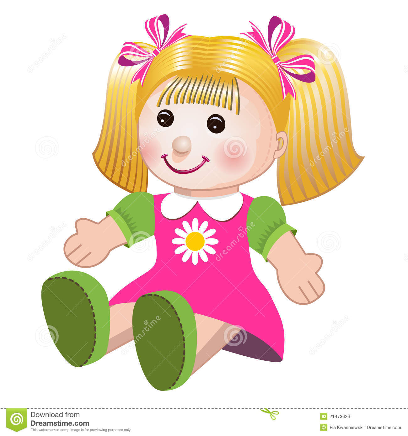 Girl Toys Color : Vector illustration of girl doll stock