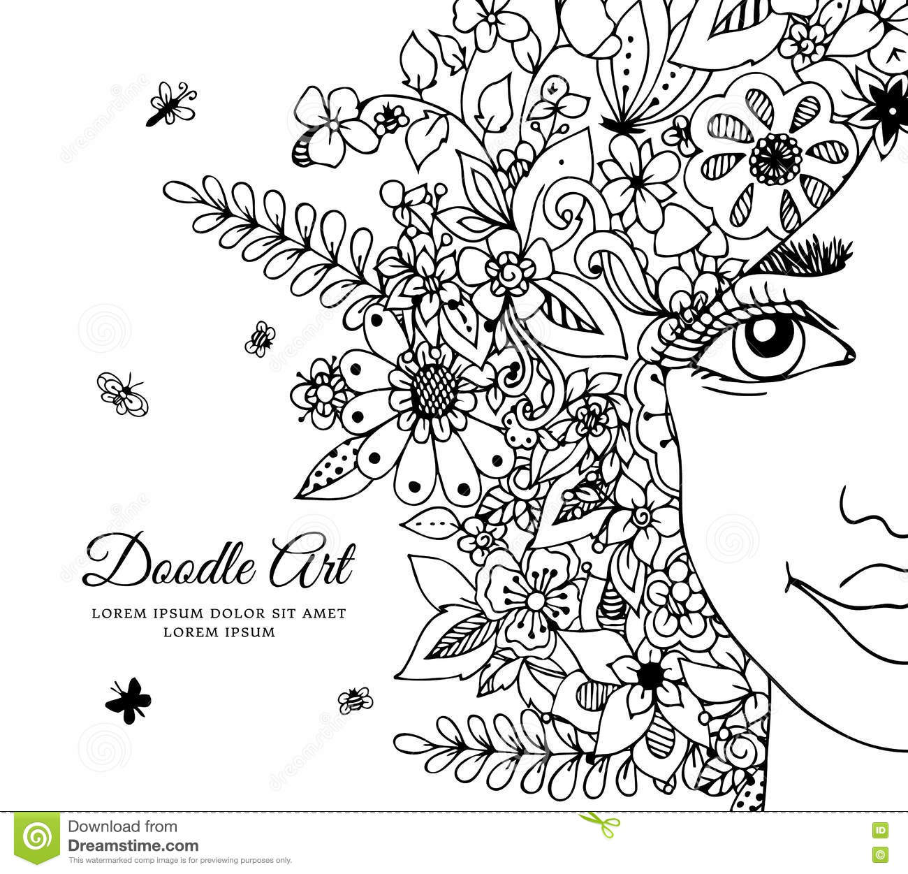 Vector Illustration Girl With Flowers In Her Hair. Doodle ...