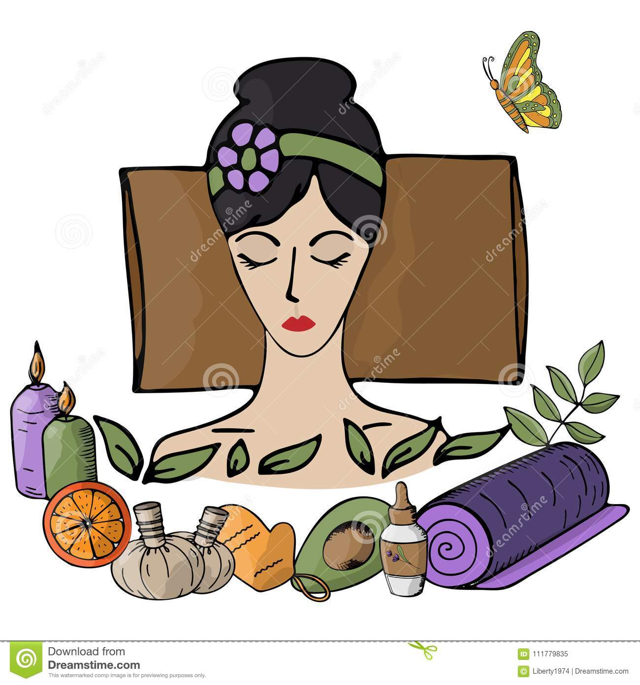 Vector illustration. Girl at the spa procedures enjoys the process. Body care, health, massage, relaxation