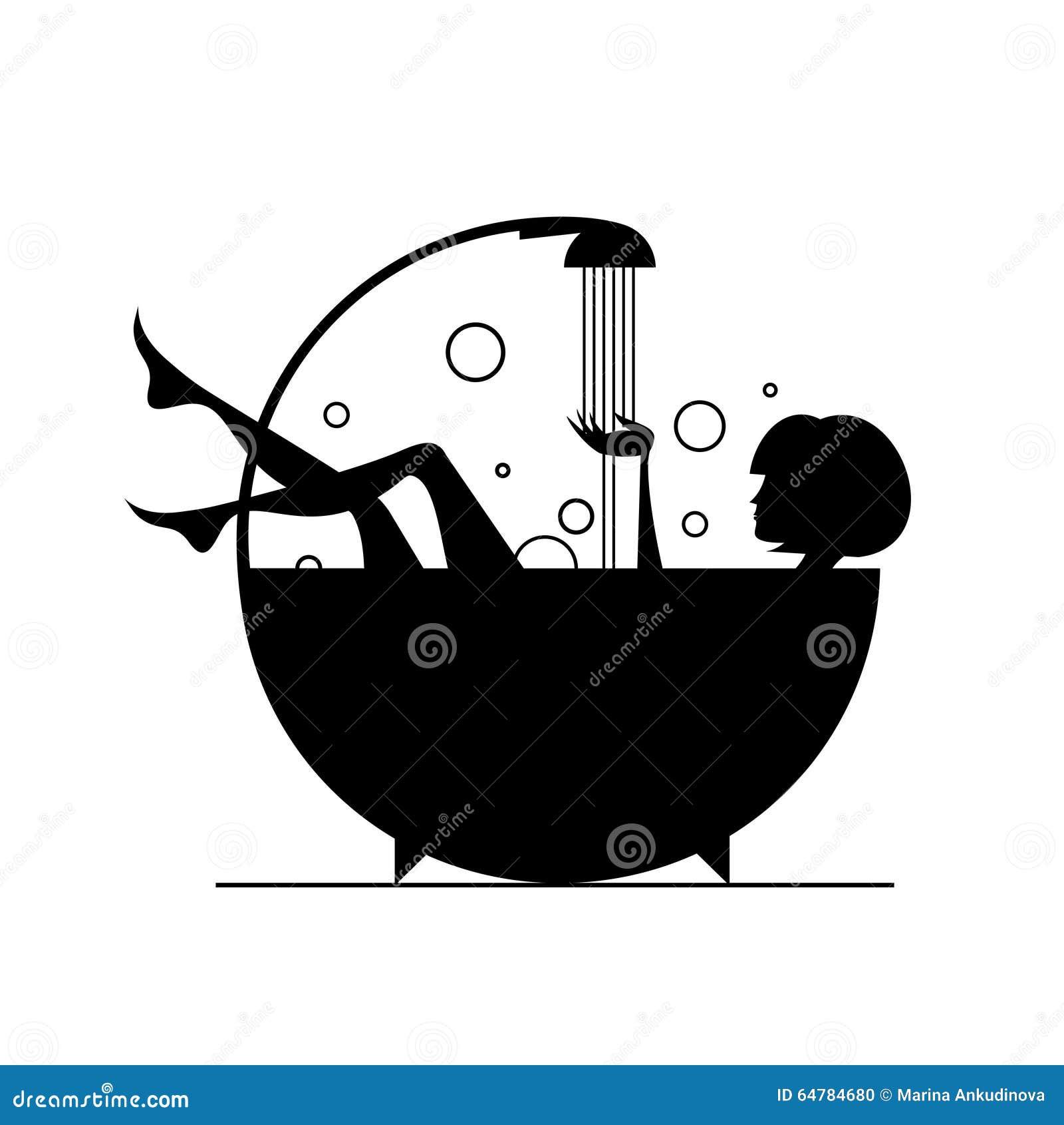 Vector Illustration: Girls In The Bath. Stock Vector