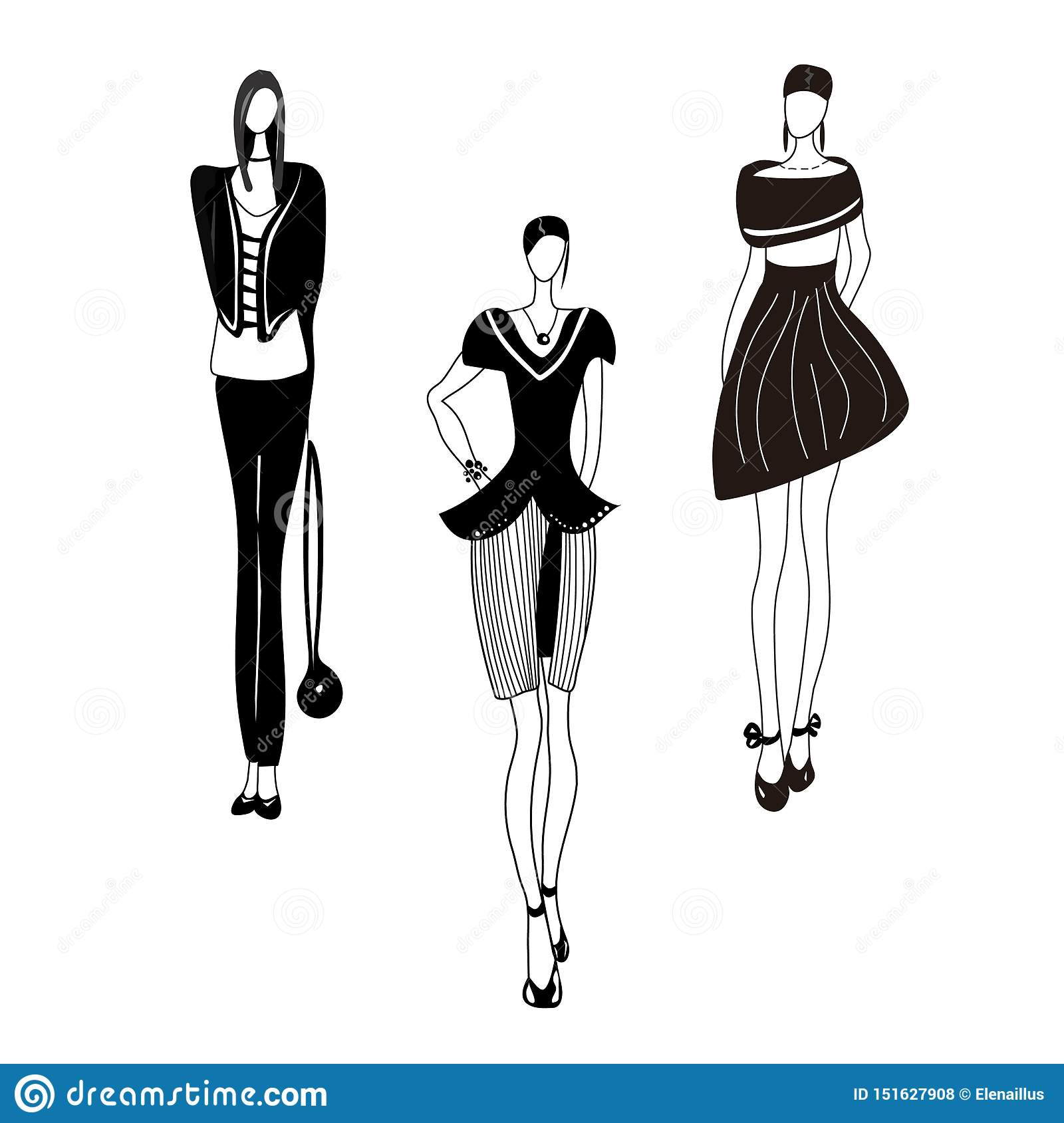Vector illustration with girls, models, siluets. Sketch.Fashion print