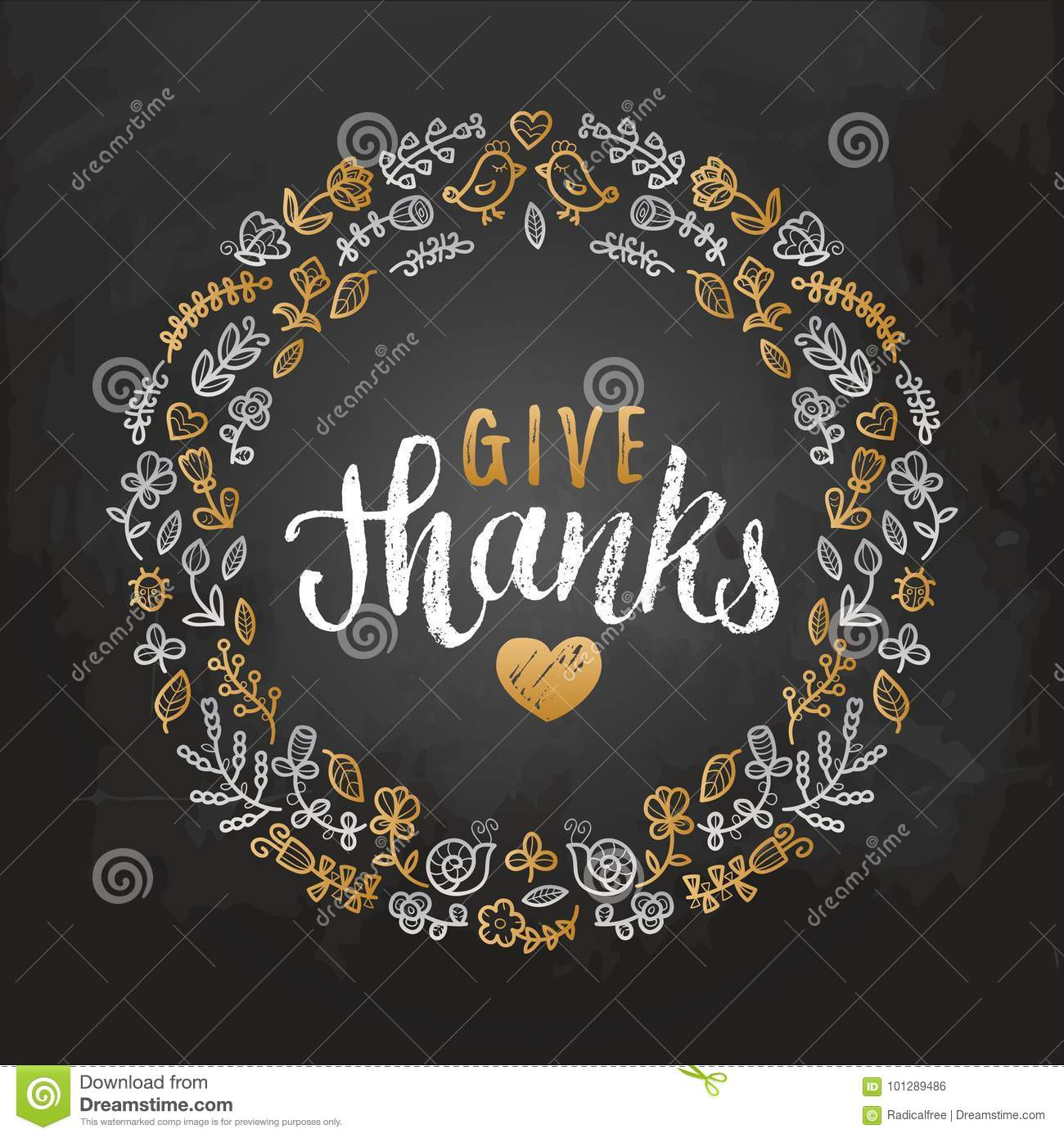 Vector Illustration With Give Thanks Lettering In Leaves Frame