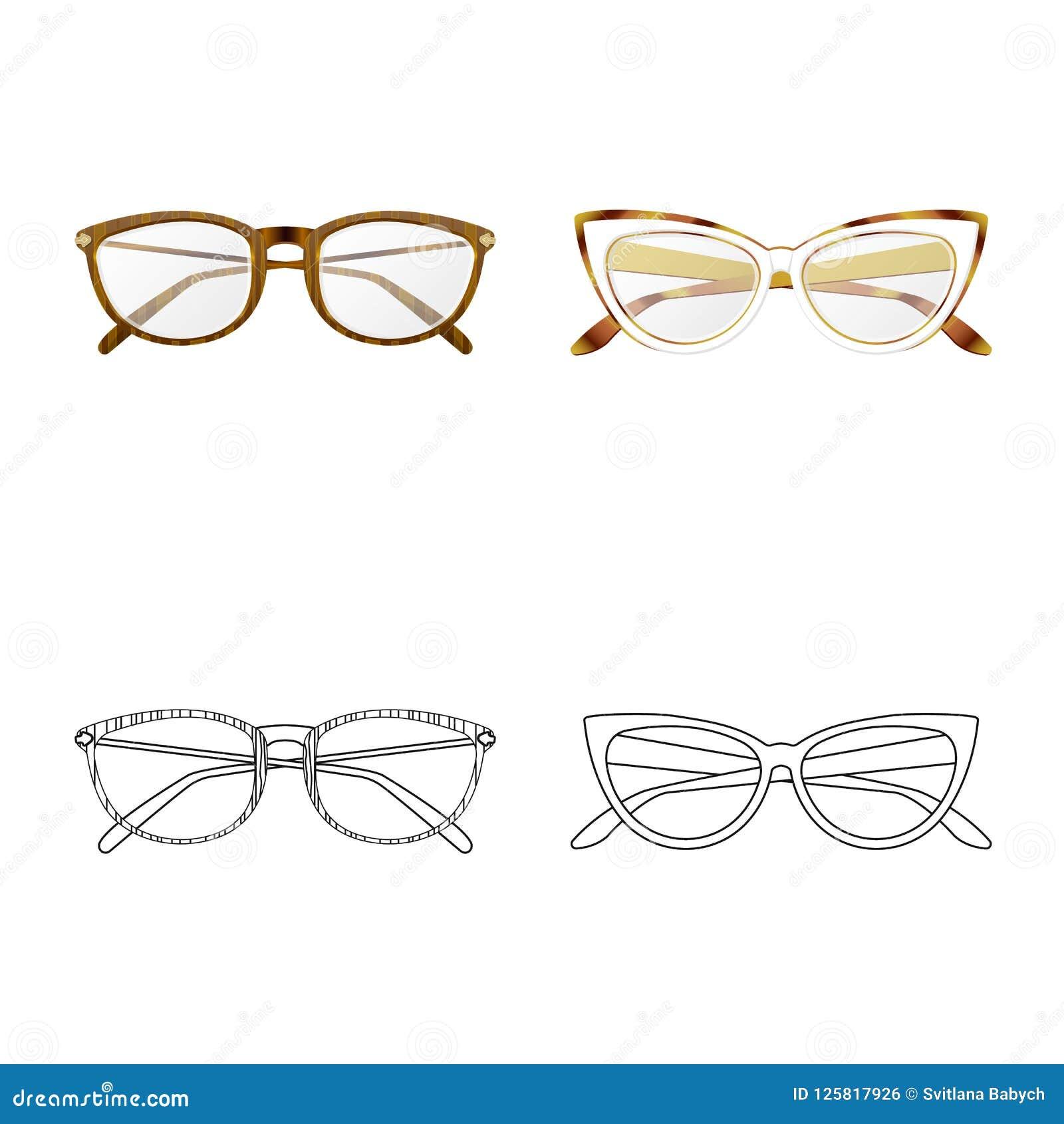 Vector Illustration Of Glasses And Frame Logo. Set Of Glasses And ...