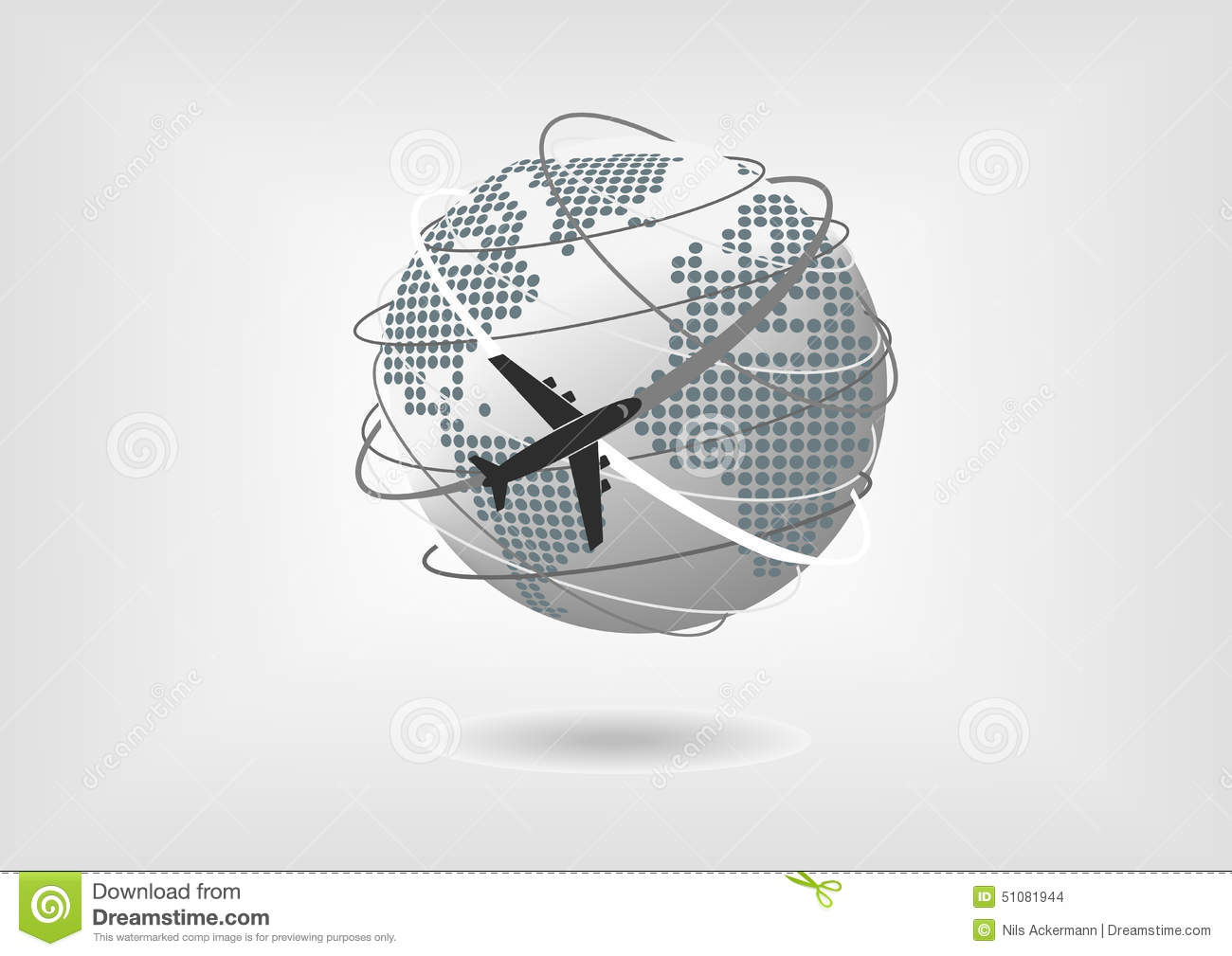 Vector illustration of globe and airplane with dotted world map of vector illustration of globe and airplane with dotted world map of north america south america europe and africa gumiabroncs Choice Image