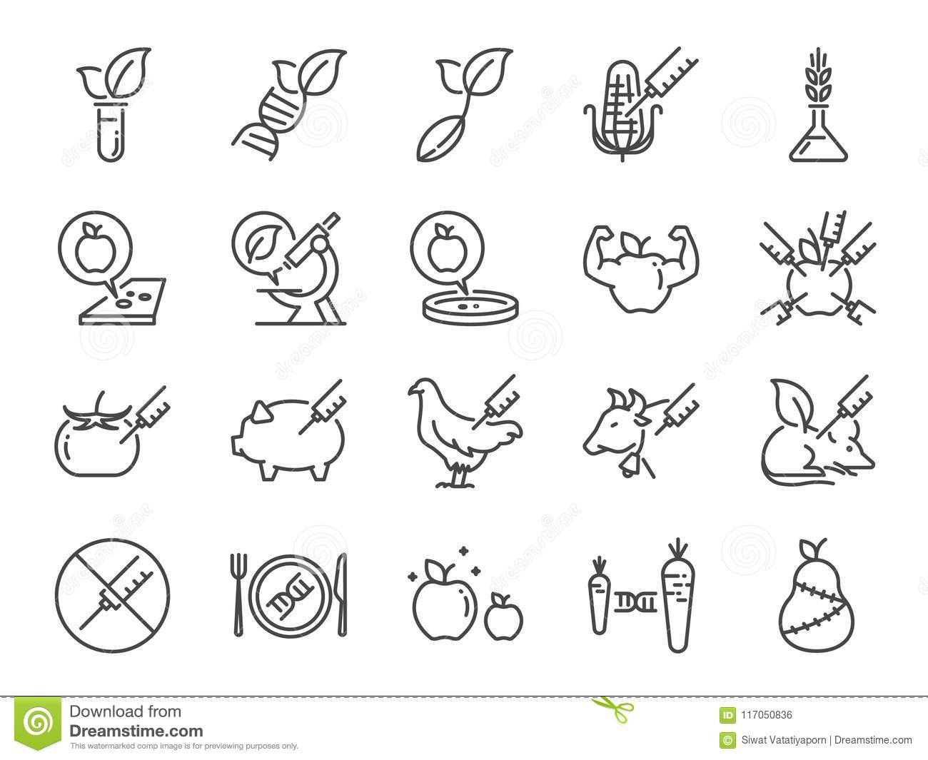 GMOs icon set. Included the icons as Genetically Modified Organisms, science, genetics, improve, biotechnology, modified.