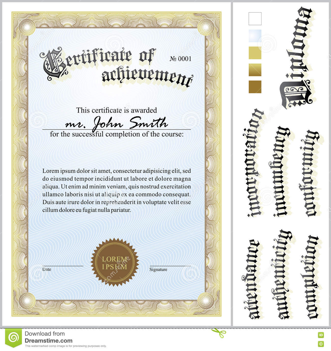 Vector Illustration Of Gold Certificate. Template. Stock