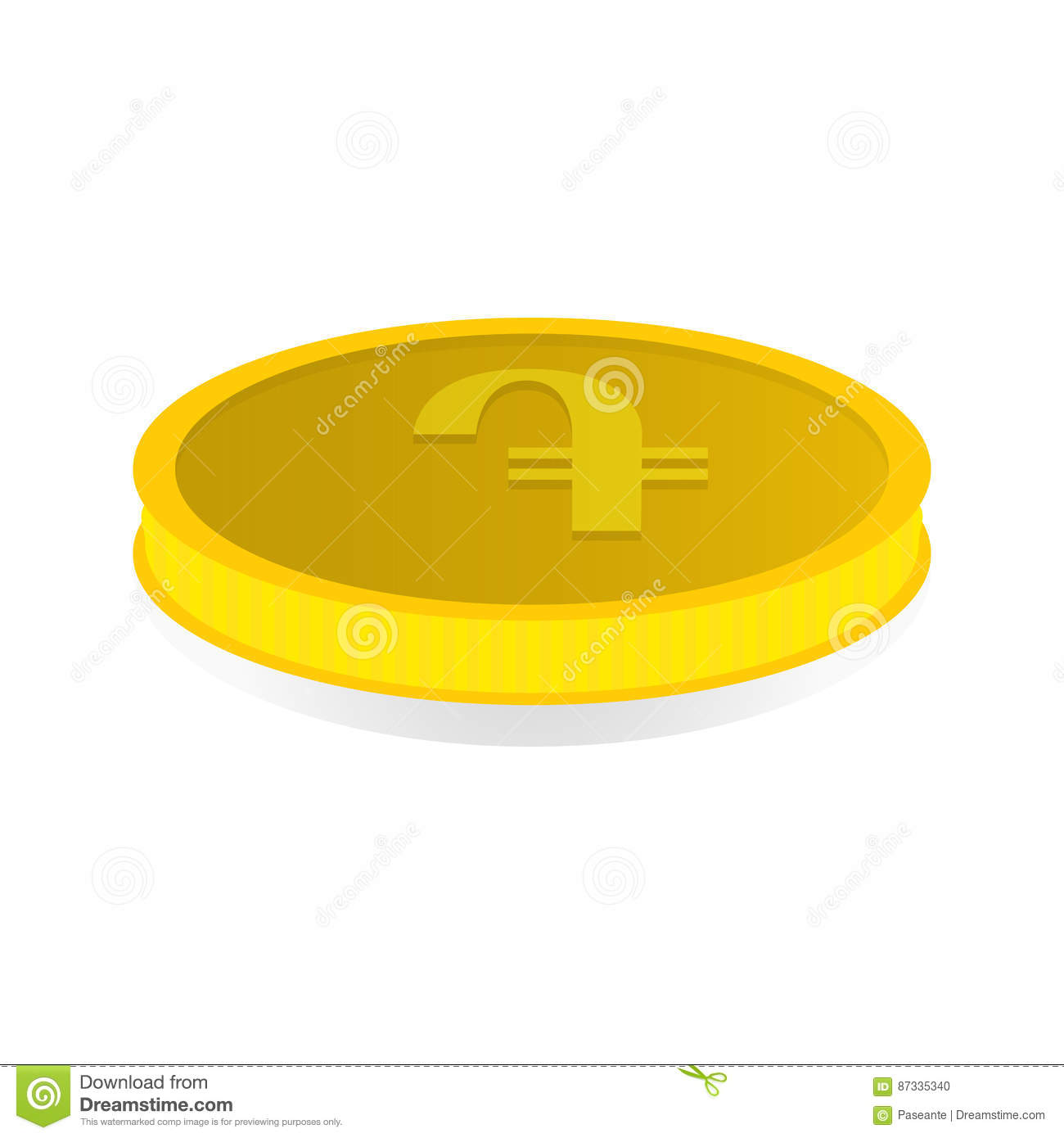 Vector Illustration Of A Gold Coin With Symbol Of Amd Dram Stock