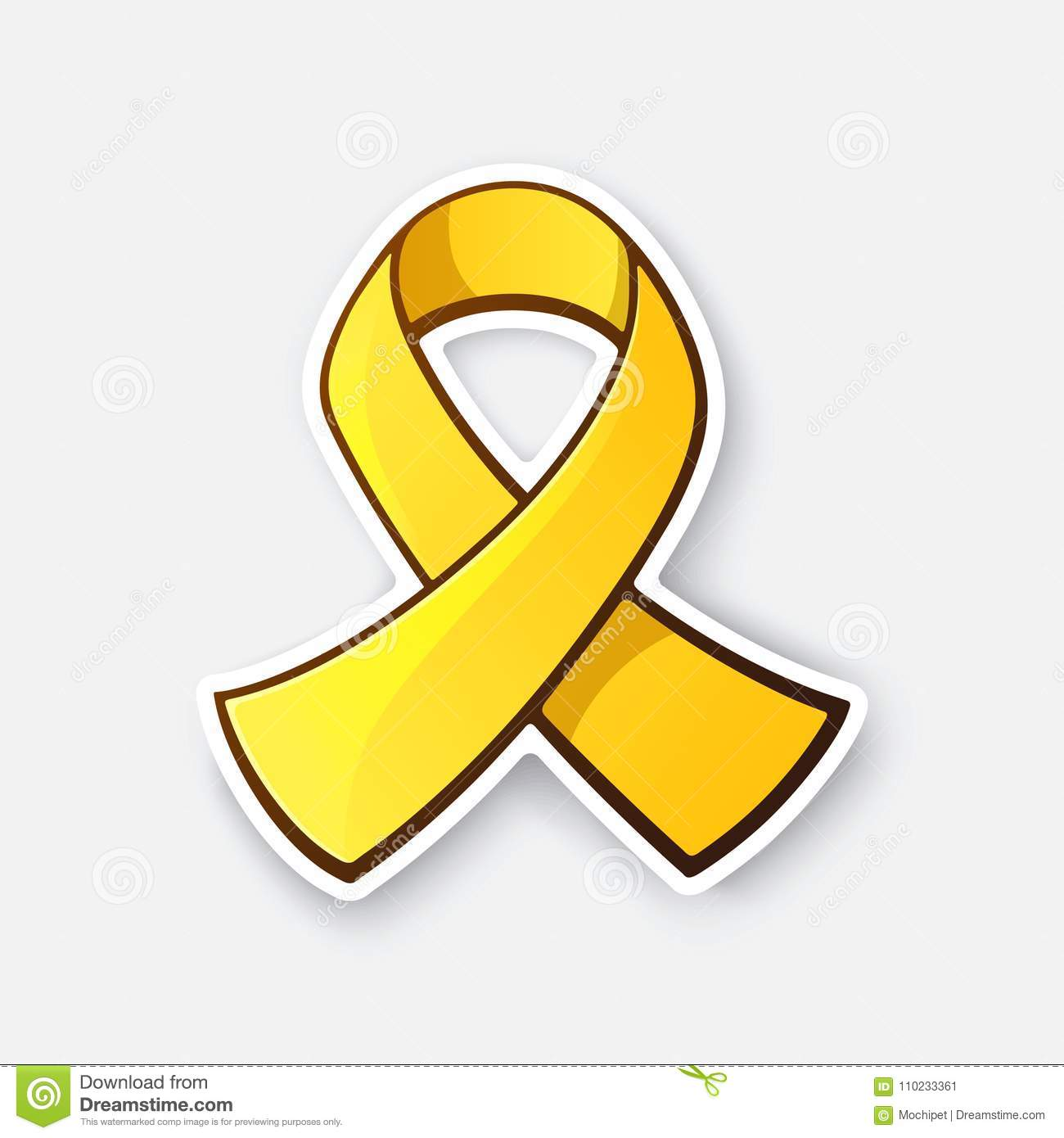 Sticker Of Gold Ribbon Symbol Of Childhood Cancer Stock Vector