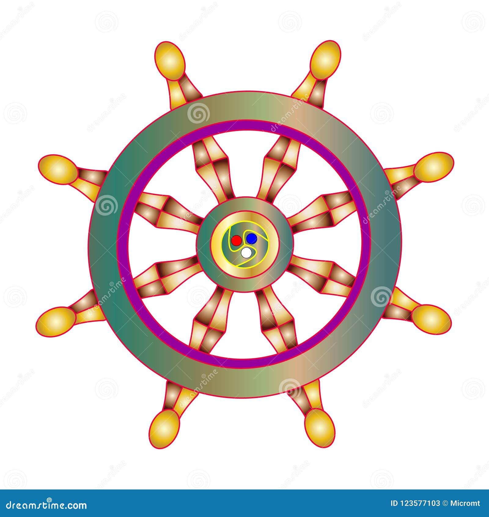 Vector Illustration Golden Dharma Wheel Buddhism Symbol