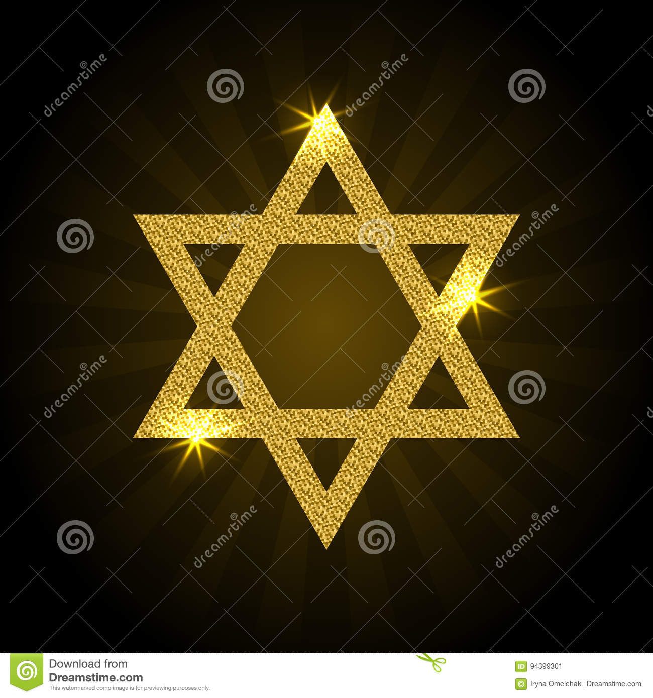 Vector illustration of golden Magen David with rays and sparkle.