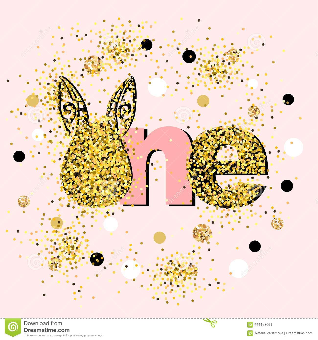 Vector Illustration Golden One With Bunny Ears Stock Illustration