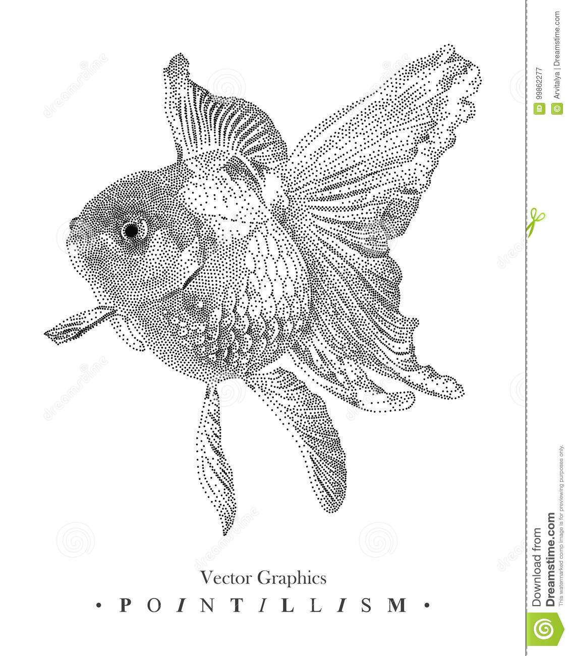 Vector Illustration With Goldfish Drawn By Hand Graphic Drawing