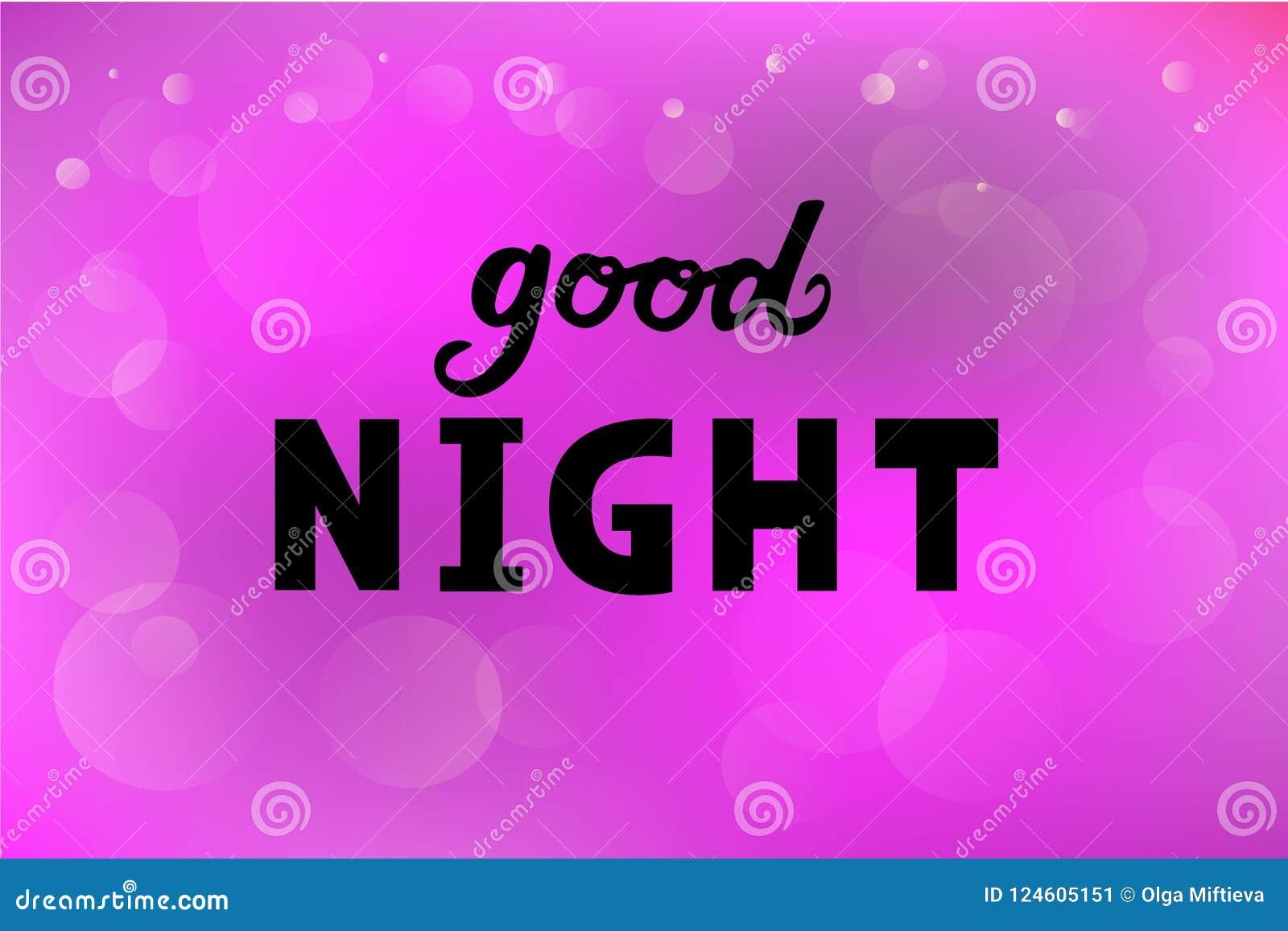 Vector Illustration Of Good Night Text Logotype Flyer Banner