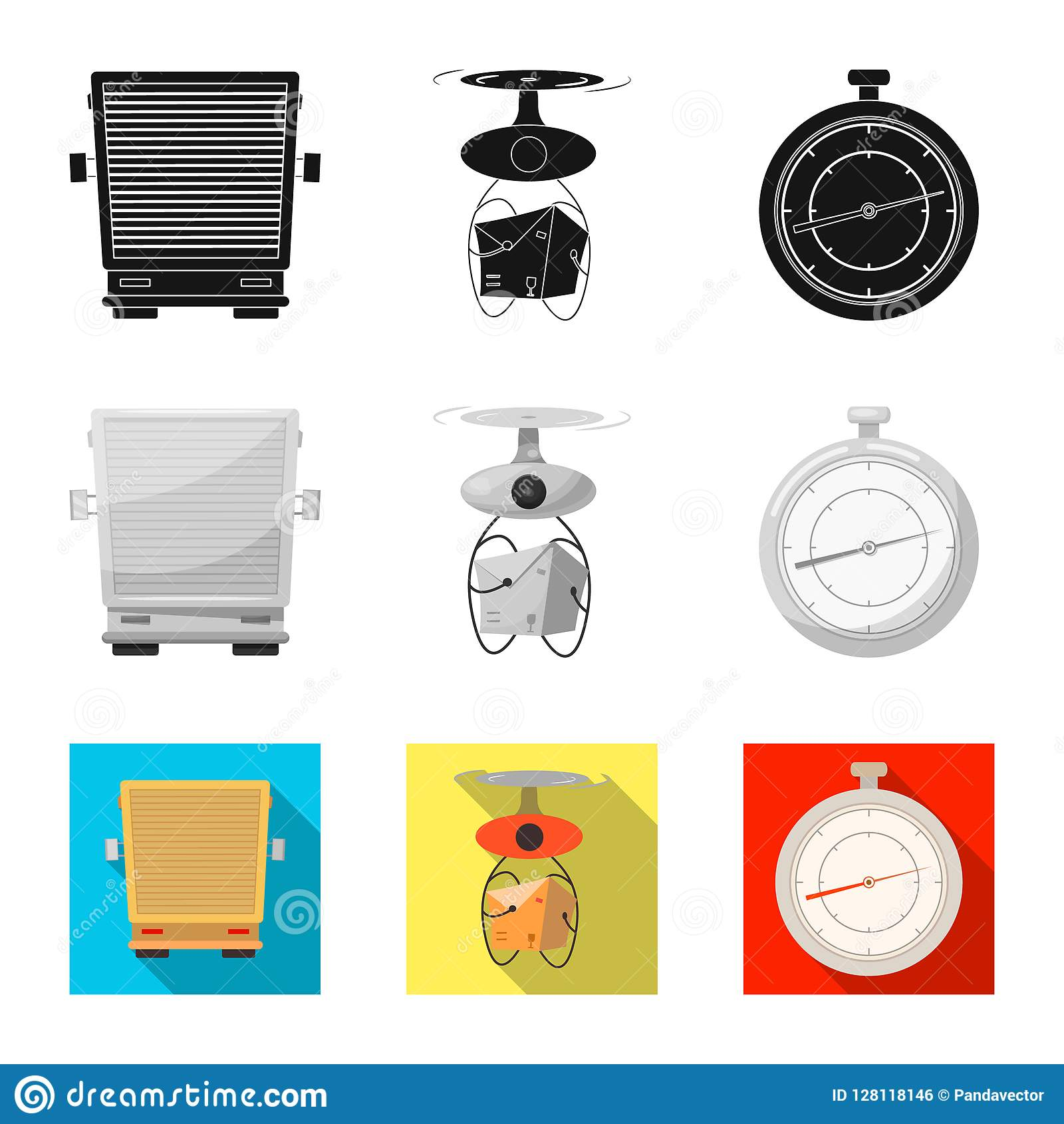 Vector illustration of goods and cargo symbol. Set of goods and warehouse stock vector illustration.