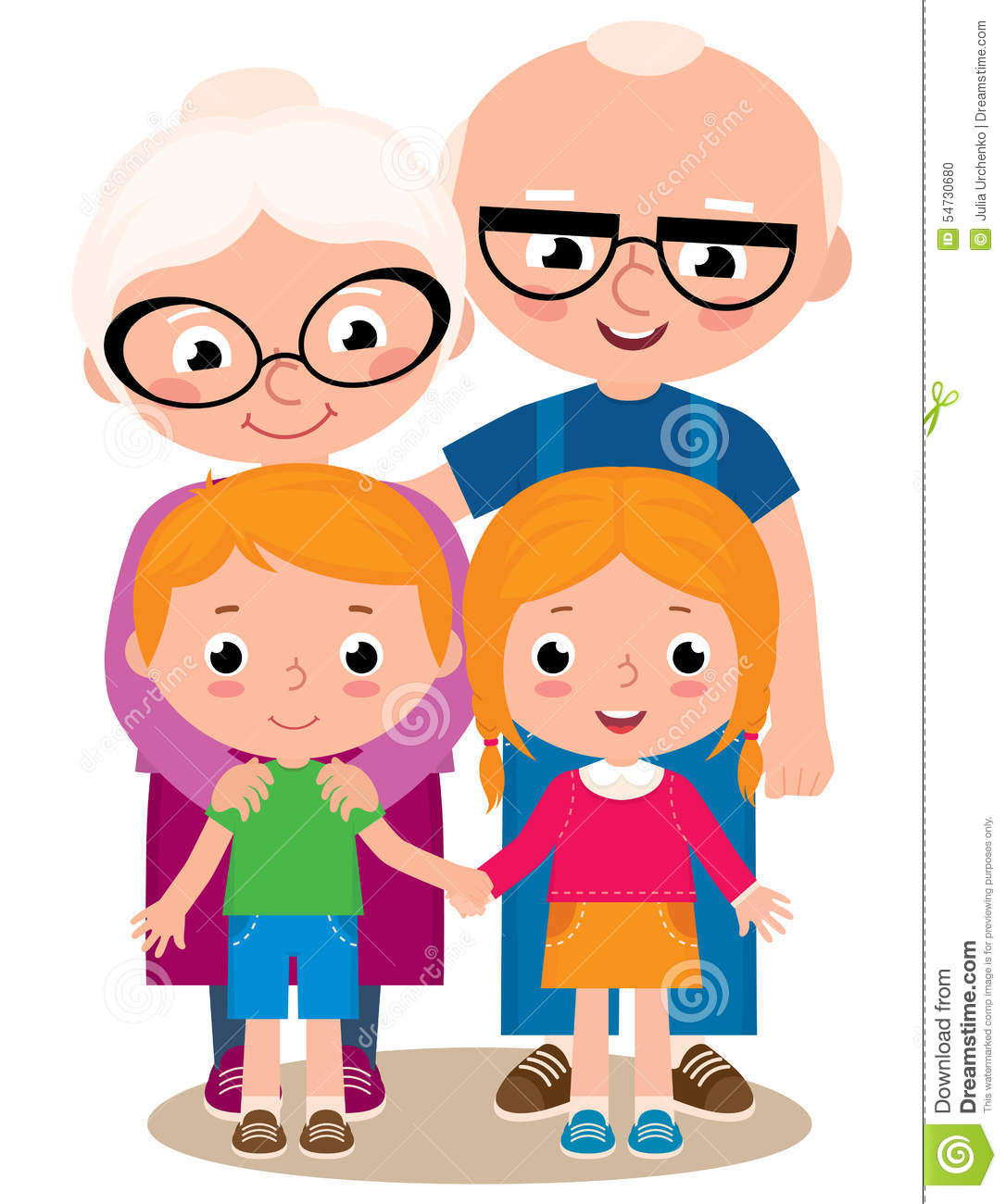 Vector Illustration Of Grandparents And Their ... Grandparents Family Clipart