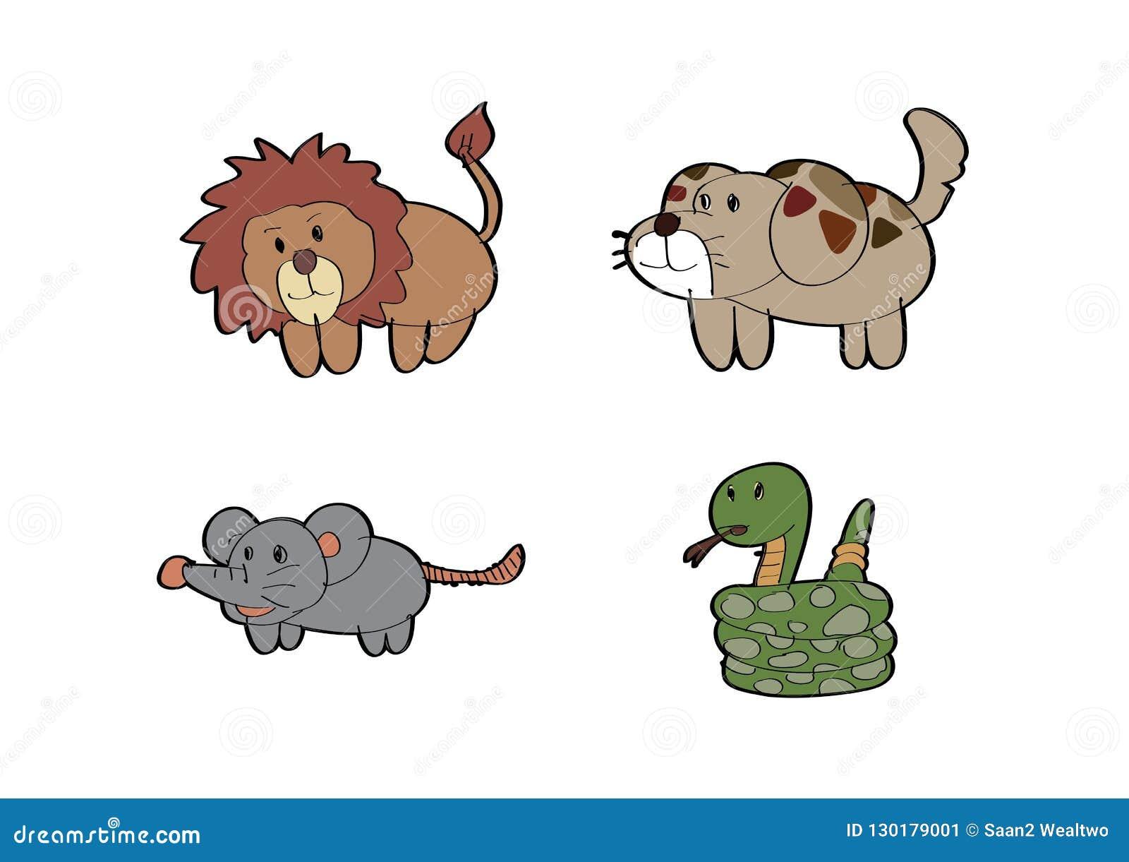 Cartoon Lion Dog Rat Snake Animal Stock Vector Illustration Of