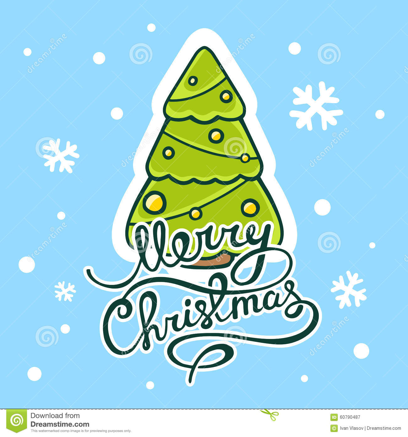 Vector Illustration Of Green Christmas Tree With Hand Written Te ...