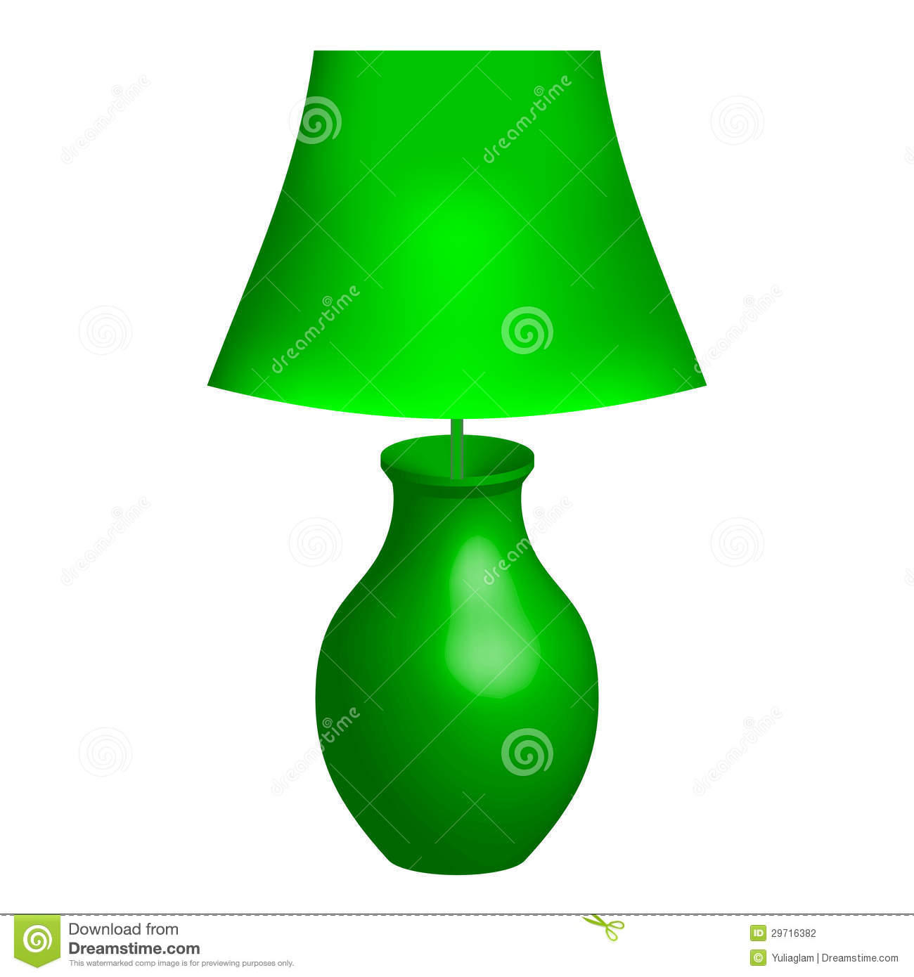 Green Lamp Stock Vector. Image Of Lampshade, Room