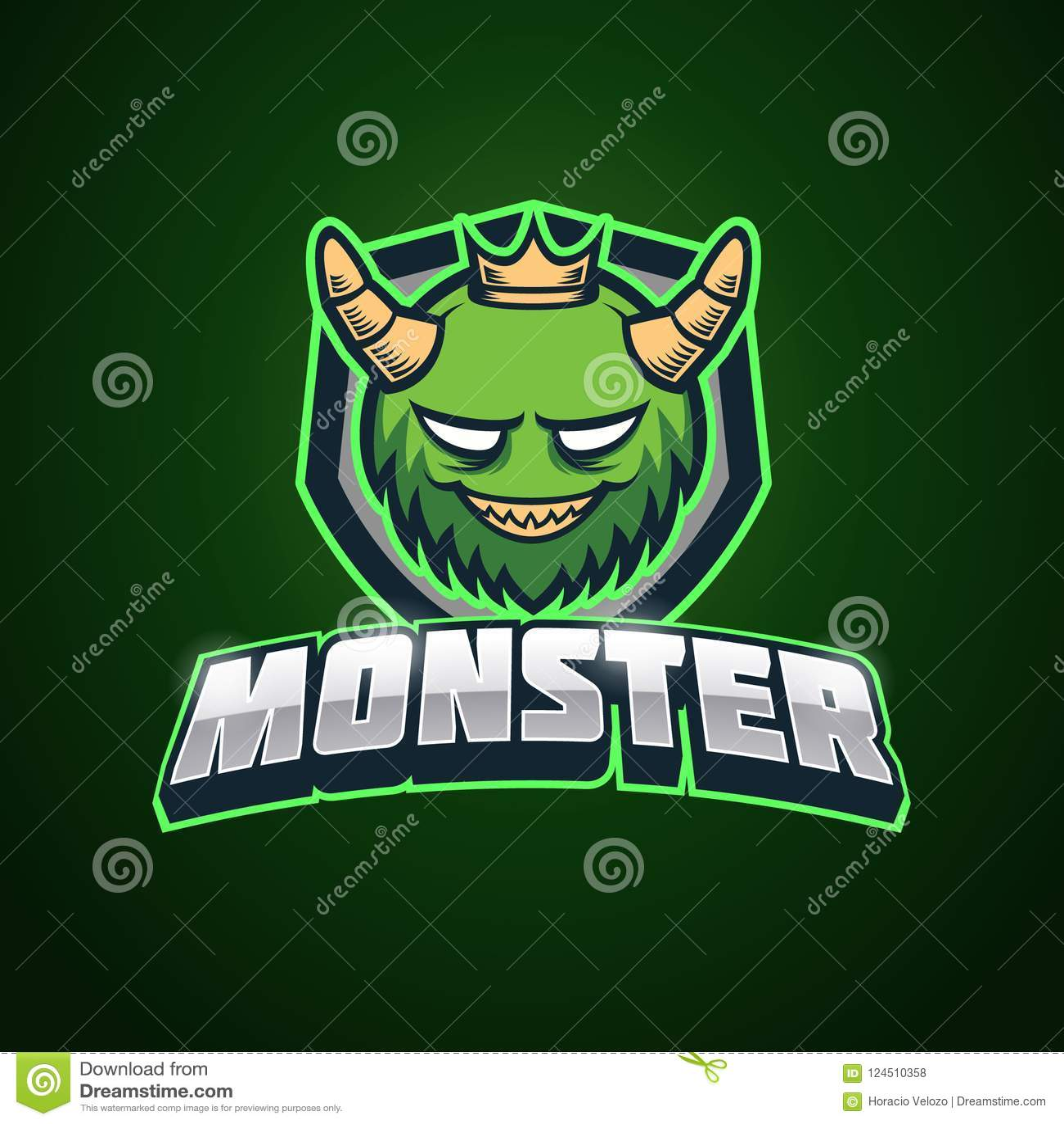 green monster esport logo template stock vector illustration of