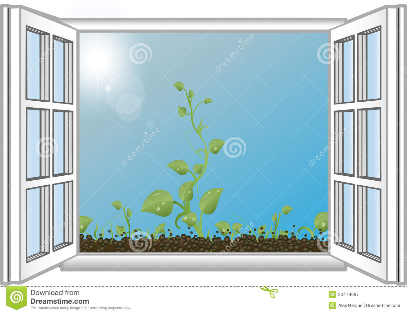 Window illustration a closed window with a view of the for Window design cartoon