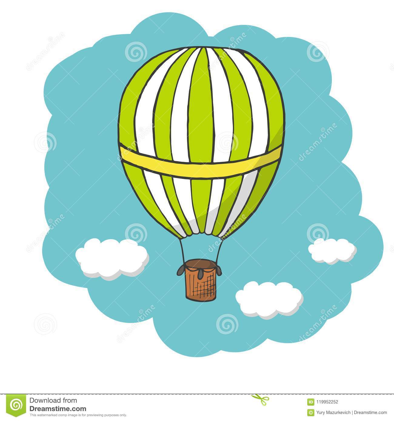 Vector Illustration, Green And Yellow Hot Air Balloon Stock Vector ...