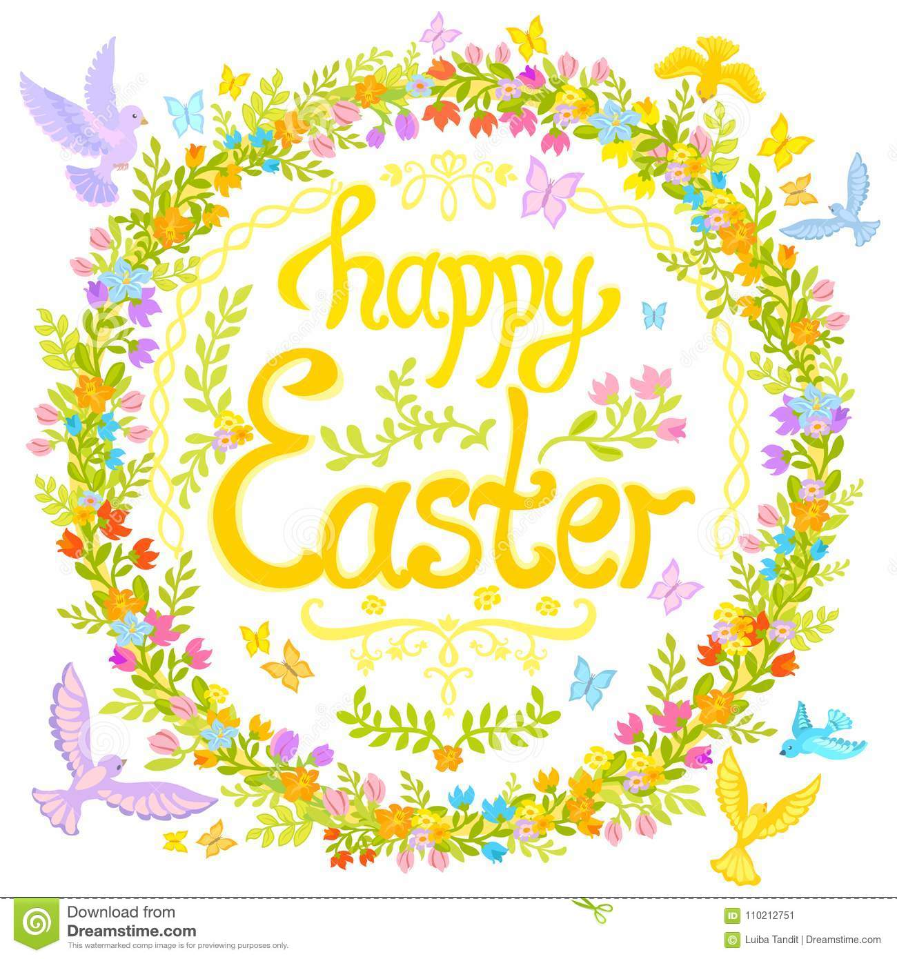 Happy easter circle decorated with flowers little birds stock vector illustration greeting postcard lettering words happy easter circle is decorated with flowers and foliage leaves and sprigs m4hsunfo