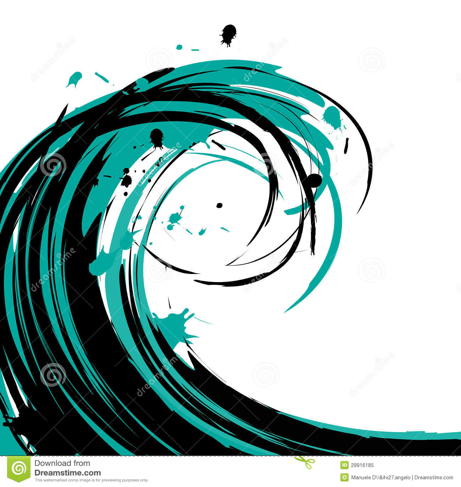 Illustration Wave Brushstroke Stock Vector