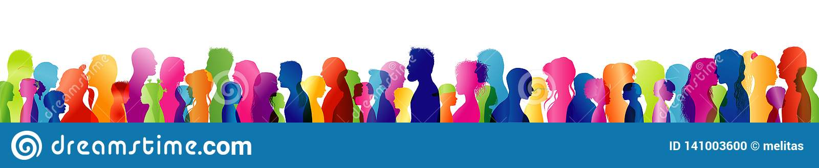 Dialogue between different people of different ages and multi-ethnic. Silhouette colored profile heads. People talking. Talking cr