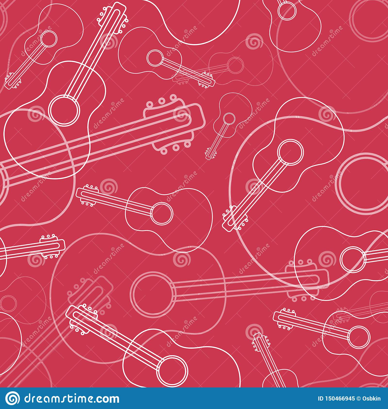 Guitar seamless pattern in line style